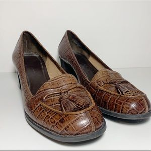 Brown Leather Faux Crocodile Heeled Loafers Heels